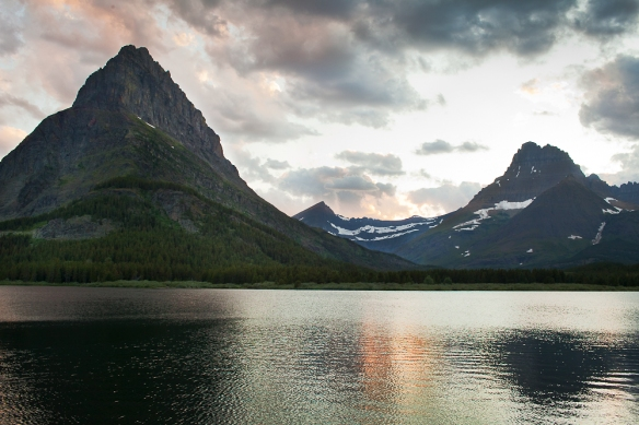 Swiftcurrent Glacier at sunset, seen from Many Glacier Lake