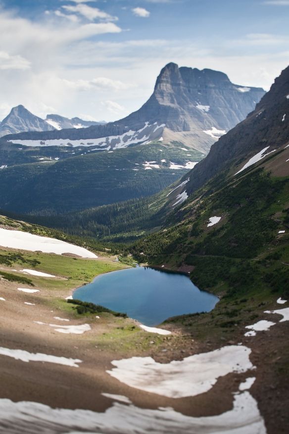 view of Ptarmigan Lake in Glacier National Park