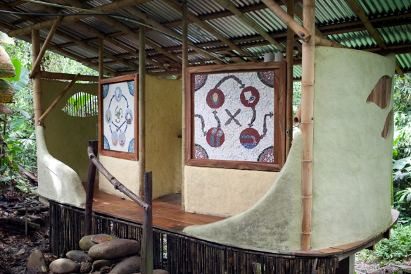 The Bio-Digester toilets.  On the outside are mosaics illustrating the cycle created by using them.