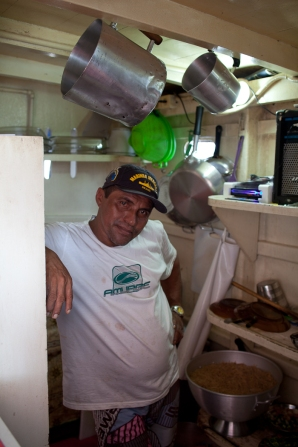 Our chef in his small galley kitchen.