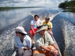 An over-the-shoulder shot of my colleagues in our canoe.