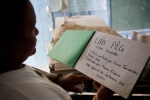 Acting Chief Auxiliadora displays a handmade book designed to teach her students their mostly lost language. This was just one example I witnessed of how the Indians are trying to hold onto or reclaim aspects of their culture that are getting lost.