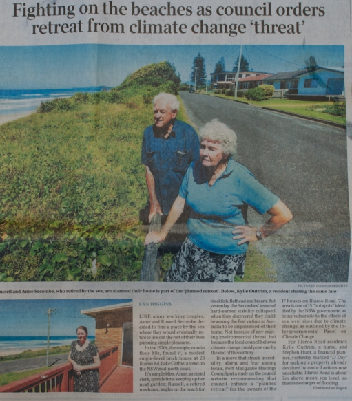The article in the Austrailan on Illaroo Road in Lake Cathie, Australia.