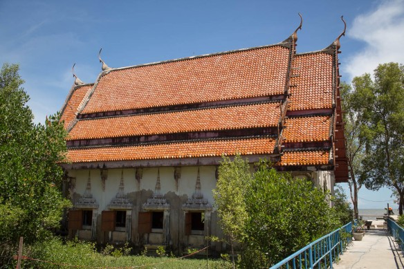 The temple in Khun Samut Chin showing water damage from rising sea levels.