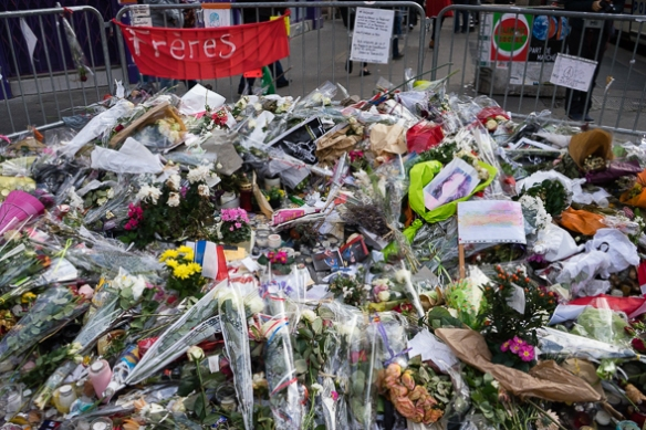 Another memorial near the Bataclan that marked a street corner where more killings occured.