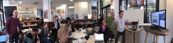 """A panorama of the Balm of Nature Workshop participants during a skype call with Australian """"Solar Punk"""" author Caroline Rental."""